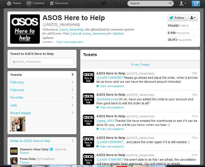 ASOS délocalise son Service Clients sur…Twitter, Facebook