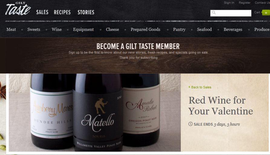 """Gilt Taste : Vente flash évènementielle """"Saint Valentine' dédié au vin"""