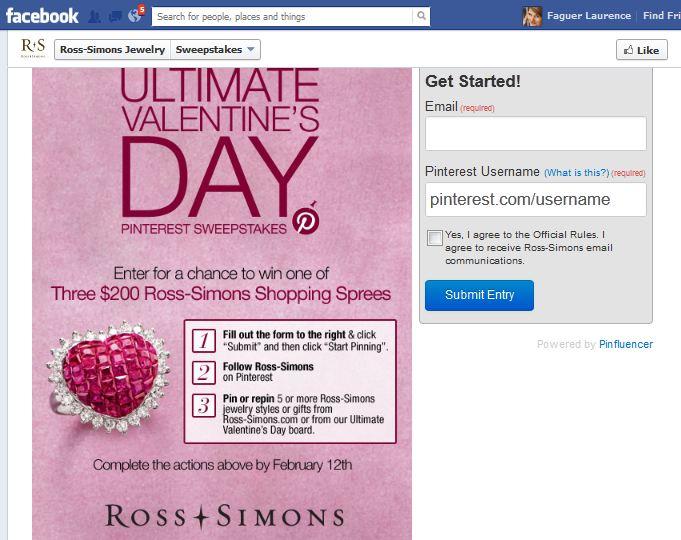 Sur Facebook : la page d'inscription au Tirage au Sort proposé sur Pinterest
