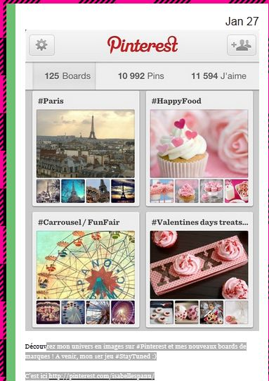 STRATEGIE OMNICANAL : le Board Pinterest est mis en avant sur Tumblr.==> une synergie se créée entre les différents media sociaux