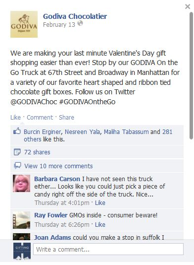 Camion Godiva On the go   sur FB