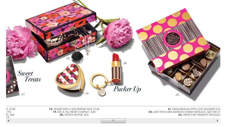 Gift Guide St Valentin. Des produits cliquables, dans des univers variés.  Parfums, bijoux, maquillage, chocolats...
