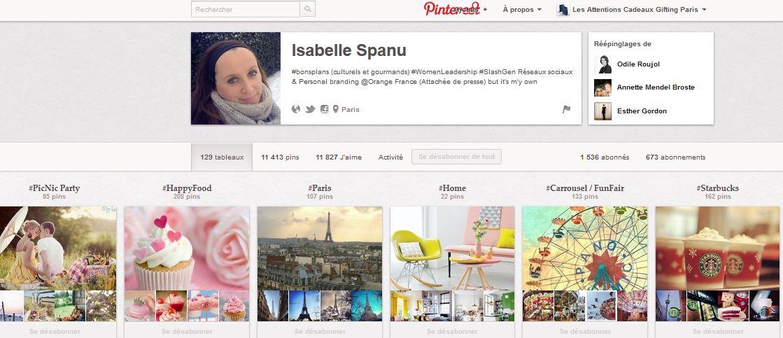 """Board Pinterest d'Isabelle Spanu. Au total :  129 boards ! Dont certains sont des booards dédiées à des marques """"life-style'."""