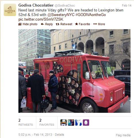 Tweet Godiva sur son Compte Tweeter, pour annoncer l'adresse du camion