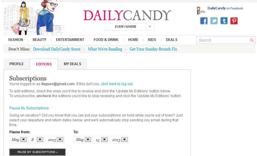 Le site DailyCandy propose de suspendre l'abonnement à ses Newsletter, le temps des vacances, par exemple.
