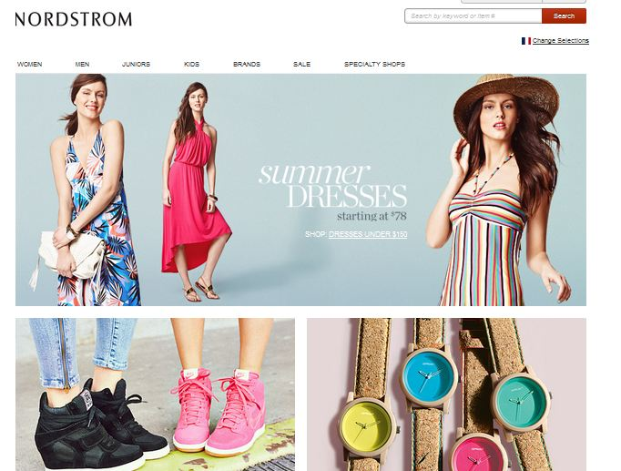 web page Nordstrom  june 2013
