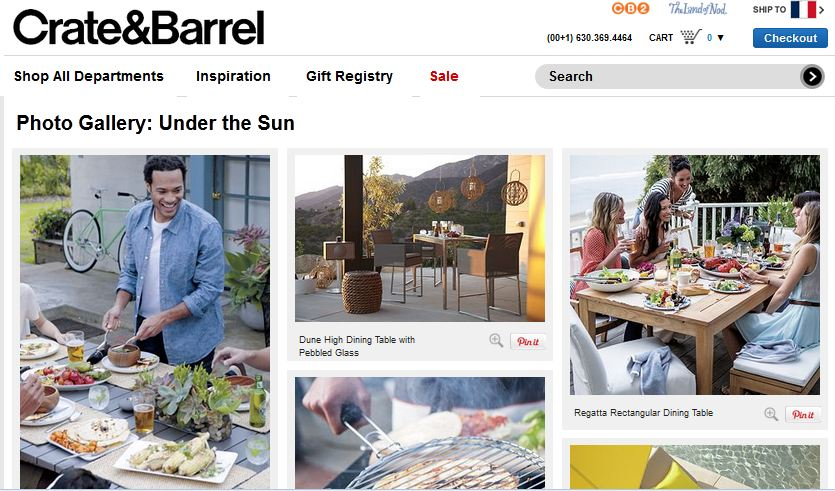 La rubrique PIN IT :  une source d'inspiration pour les clients, avec ses photos d'ambiance qui mettent en situation les produits de Crate&Barrel.