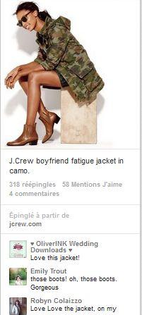 Une veste sur le board de Pinterest. Avec les Like, Commentaires et possibilité de 'piner' l'image