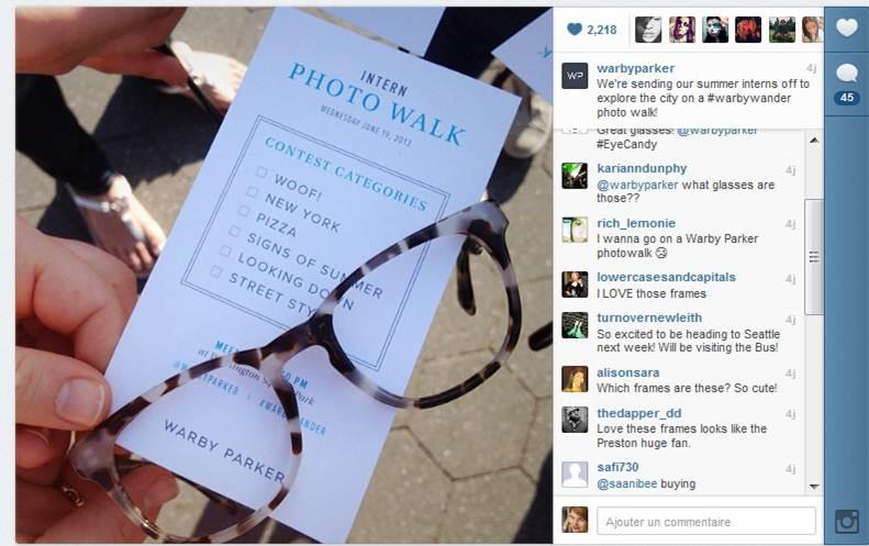 Warby Parker sur Instagram : flux des questions et commentaires des clients