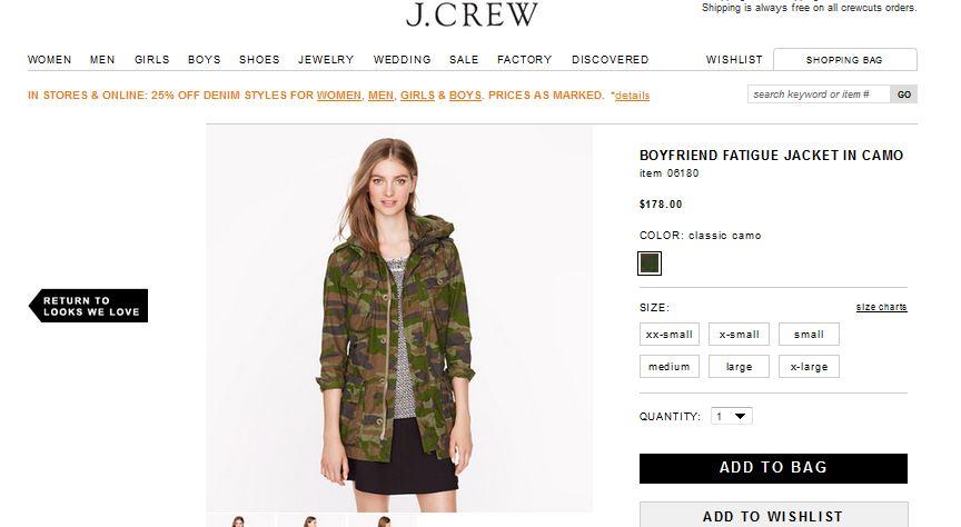 Page Produit 'veste' sur Jcrew.com