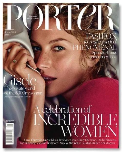 Gisele-Bündchen en couverture de Porter, le nouveau magazine du site e-commerce  Net-a-Porter. Photographié par  Inez van Lamsweerde-et Vinood Matadin-Stylist : Alex White