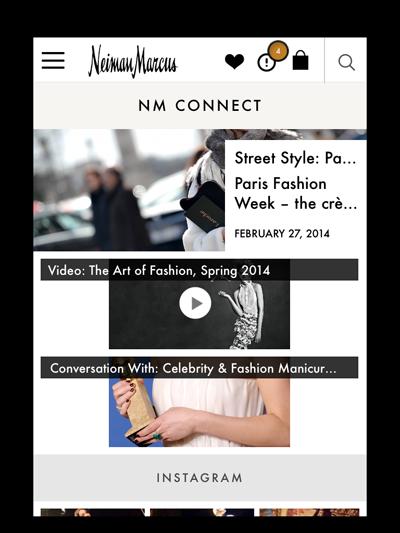 Connect. Flux des medias sociaux de NM. Source : Luxury Daily et Neiman Marcus