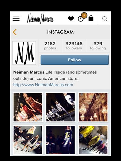 Le compte Instagram de NM, dans l'app mobile. Source : Luxury Daily et Neiman Marcus