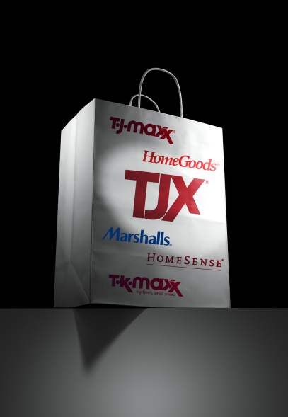 PHOTO ILLUSTRATION OF TJX SHOPPING BAG LISTING SEVERAL OF THEIR INDIVIDUAL STORE LOGOS. PHOTO FOR FORTUNE BY SAM KAPLAN, PHOTO ILLUSTRATION BY FORTUNE