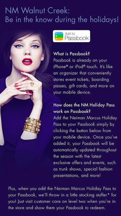 Ecran Neiman Marcus expliquant le fonctionnement depuis le PassBook d'Apple. Source : Luxury Daily