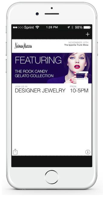 Exemple de push notification. Courtesy :  Luxury Daily