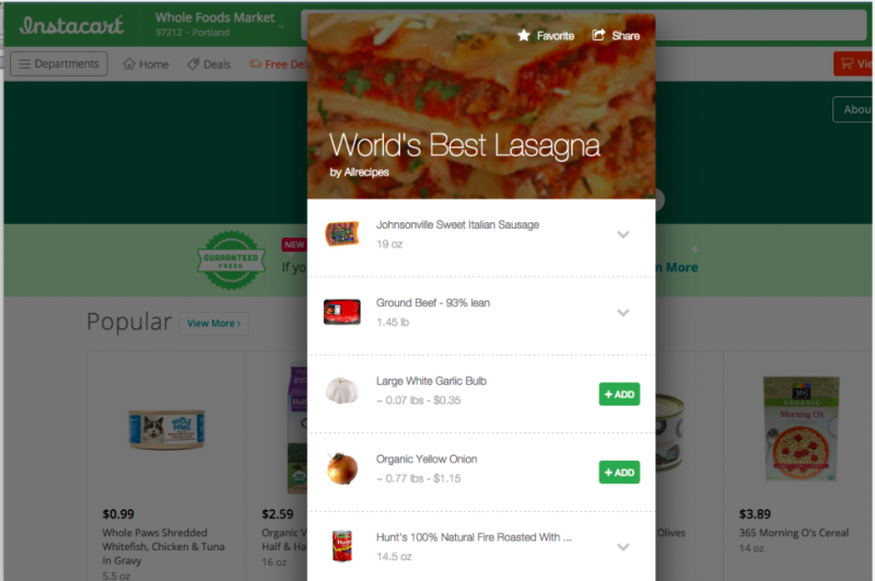 Allrecipes.com intègre Instacart dans son appli mobile